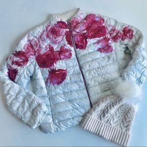 Moncler LUNAIRE white/floral/rose puffer down sz0